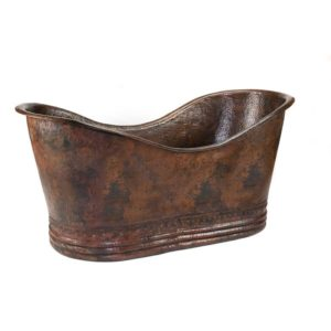 "67"" Hammered Copper Double Slipper Bathtub"