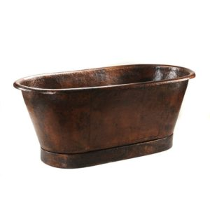 "72"" Hammered Copper Modern Slipper Style Bathtub"