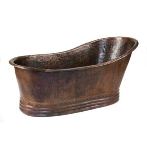 "67"" Hammered Copper Single Slipper Bathtub"