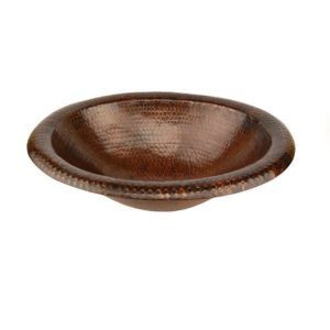 Wide Rim Oval Self Rimming Hammered Copper Sink