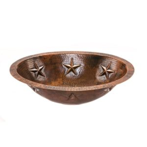 Oval Star Under Counter Hammered Copper Bathroom Sink