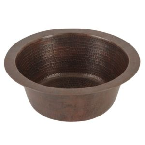 12″ Round Hammered Copper Bar Sink W/ 2″ Drain Size
