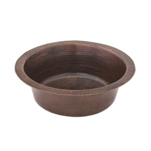 14″ Round Hammered Copper Bar Sink W/  2″ Drain Size