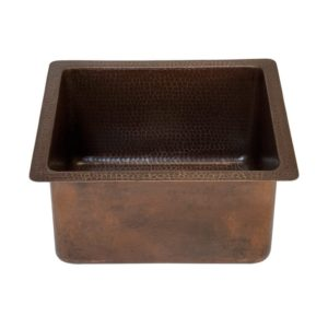 16″ Gourmet Rectangular Hammered Copper Bar/Prep Sink