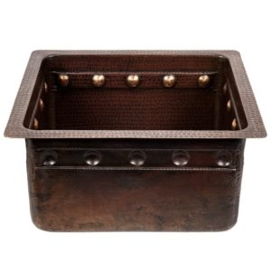 "16"" Gourmet Rectangular Hammered Copper Bar/Prep Sink w/ Barrel Strap Design"