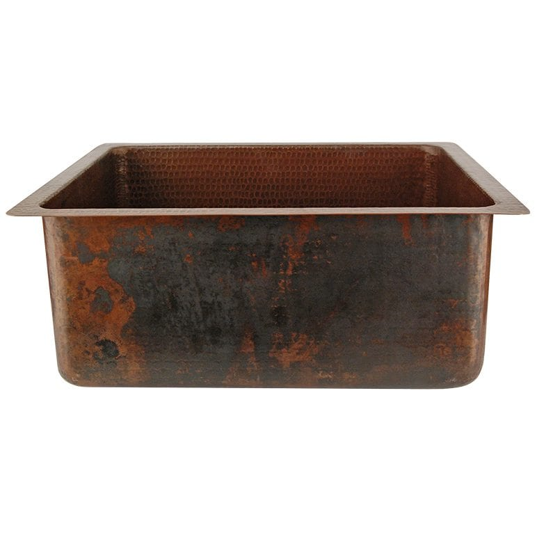 20 Hammered Copper Kitchen Bar Prep Single Basin Sink