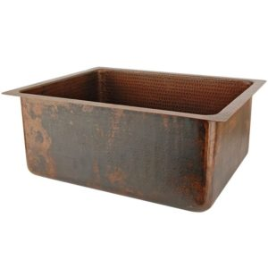 "20"" Hammered Copper Kitchen/Bar/Prep Single Basin Sink"
