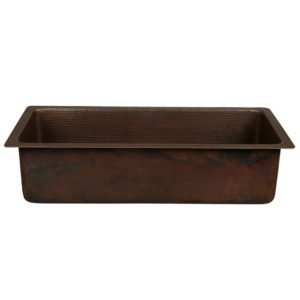 "28"" Rectangle Hammered Copper Bar/Prep Sink with 3.5"" Drain Opening"