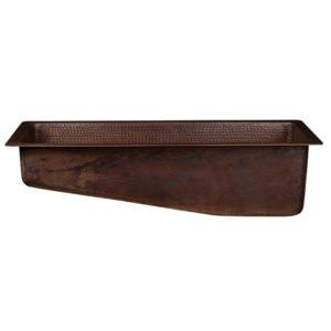 "28"" Rectangle Hammered Copper Slanted Bar/Prep Sink with 3.5"" Drain Opening"