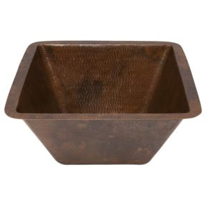 15″ Square Hammered Copper Bar/Prep Sink W/  3.5″ Drain Size