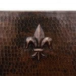 15″ Square Fleur De Lis Copper Bar/Prep Sink W/  2″ Drain Size