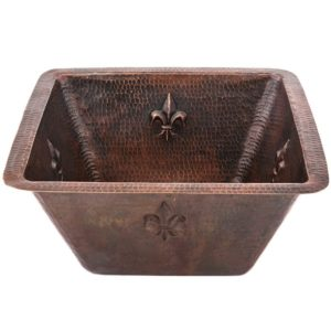 "15"" Square Fleur De Lis Copper Bar/Prep Sink W/  2"" Drain Size"