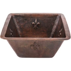 "15"" Square Fleur De Lis Copper Bar/Prep Sink W/  3.5"" Drain Size"
