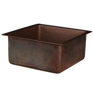 16″ Square Hammered Copper Bar/Prep Sink with 3.5″ Drain Opening