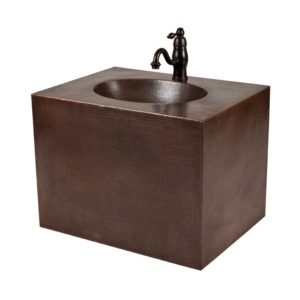 24″ Hand Hammered Copper Wall Mount Vanity and Faucet Package/Combo