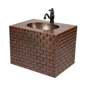 """24"""" Hand Hammered Copper Wall Mount Vanity with Tuscan Design and Faucet Package/Combo"""