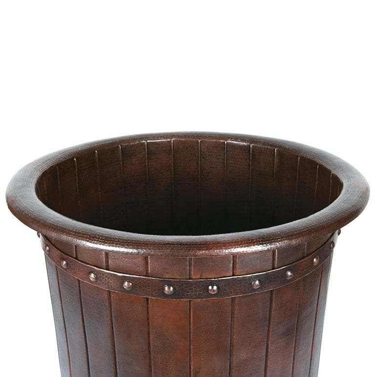 Japanese Style Soaking Hammered Copper Bathtub With Barrel