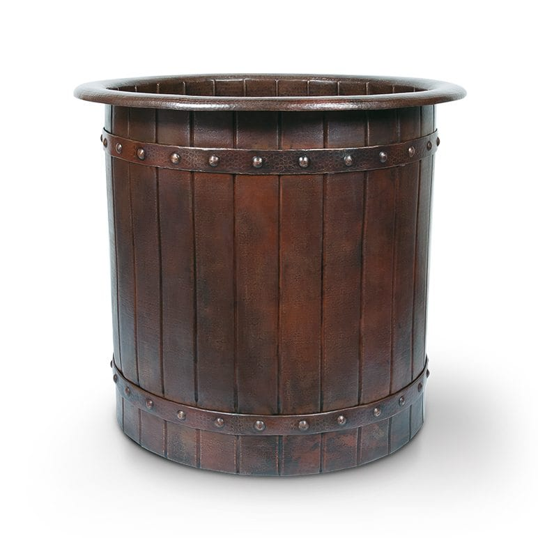 Japanese Style Soaking Hammered Copper Bathtub With Barrel Strap Design