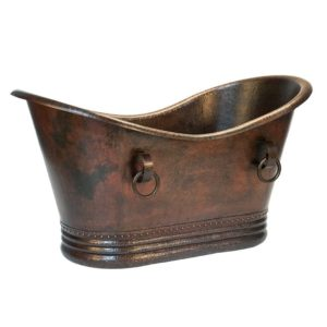 "60"" Hammered Copper Double Slipper Bathtub With Rings"