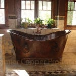 67″ Hammered Copper Double Slipper Bathtub With Rings