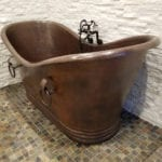 72″ Hammered Copper Double Slipper Bathtub With Rings