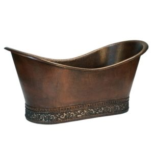 67″ Hammered Copper Double Slipper Bathtub with Scroll Base and Nickel Inlay