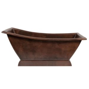 67″ Hammered Copper Canoa Single Slipper Bathtub