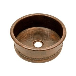 "15"" Round Copper Vessel Bar Sink w/ 2"" Drain Size"