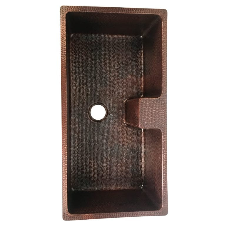 Custom Hand Hammered Copper Kitchen Sink with Faucet Mounting Ledge