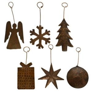 Hand Hammered Copper Christmas Ornaments – Assortment of 6