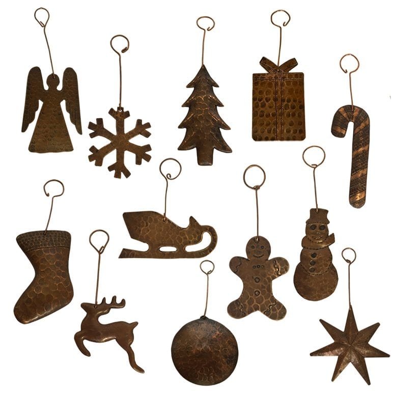Copper Christmas Ornaments.Hand Hammered Copper Christmas Ornaments Complete