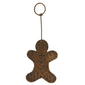 Hand Hammered Copper Gingerbread Christmas Ornament - Quantity of 6
