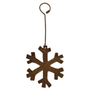 Hand Hammered Copper Snowflake Christmas Ornament - Quantity of 6