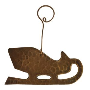 Hand Hammered Copper Sleigh Christmas Ornament - Quantity of 6
