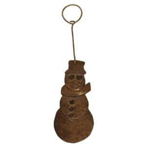 Hand Hammered Copper Snowman Christmas Ornament - Quantity of 3