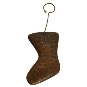 Hand Hammered Copper Stocking Christmas Ornament - Quantity of 6