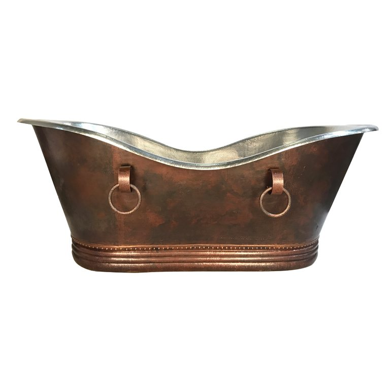 Custom 84u2033 Hammered Copper Bathtub With Rings And Nickel Plated Interior
