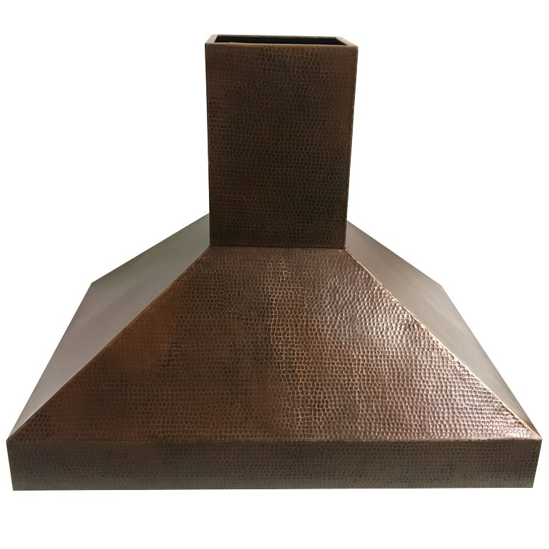 Custom 36 Hand Hammered Copper Island Range Hood
