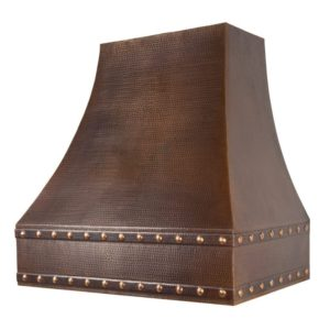 "36"" Hammered Copper Wall Mounted Correa Range Hood"