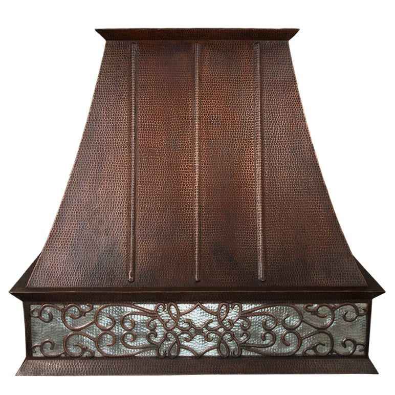 Hand Hammered Copper Wall Mounted Euro Range Hood With