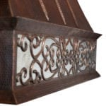 Hand Hammered Copper Wall Mounted Euro Range Hood with Nickel Background Scroll Design