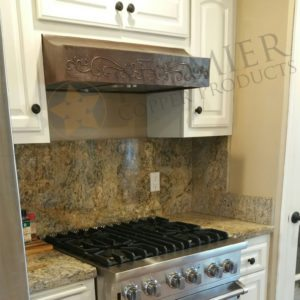"Custom 30"" Under Cabinet Copper Range Hood with Scroll Design"