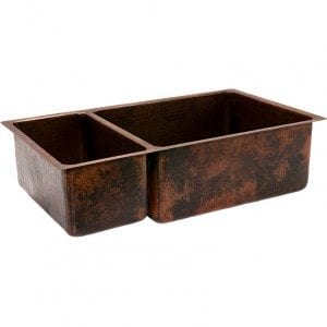 "33"" Copper Hammered Kitchen 25/75 Double Basin Sink"