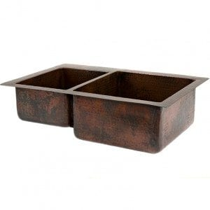 "33"" Copper Hammered Kitchen 40/60 Double Basin Sink"