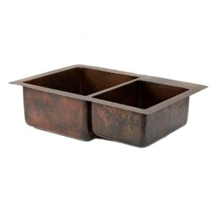 33″ Copper Hammered Kitchen 60/40 Double Basin Sink