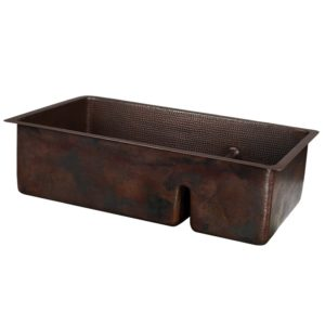"33"" Hammered Copper Kitchen 70/30 Double Basin Sink with Short 5"" Divider"