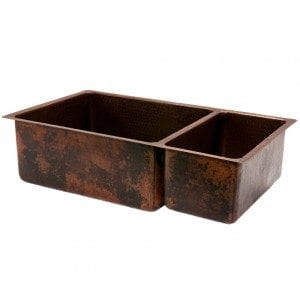 33″ Copper Hammered Kitchen 75/25 Double Basin Sink