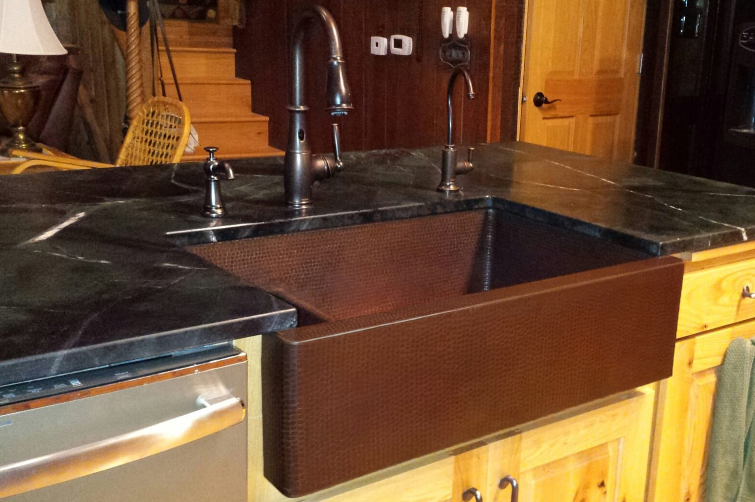 33 Hammered Copper Kitchen Apron 30 70 Double Basin Sink