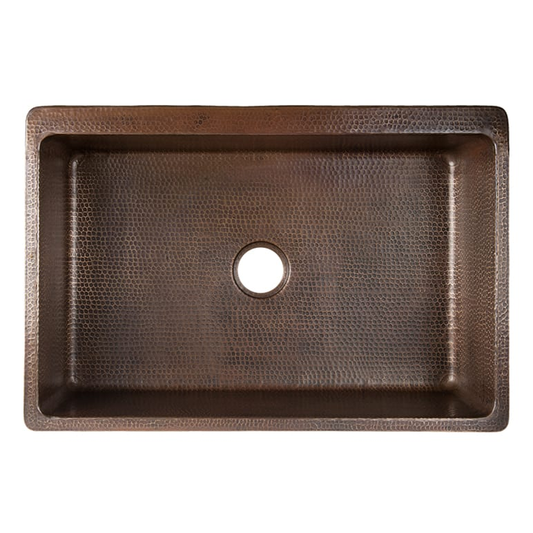 33u2033 Hammered Copper Kitchen Apron Single Basin Sink W/ Fleur De Lis And  Apron Front Nickel Background