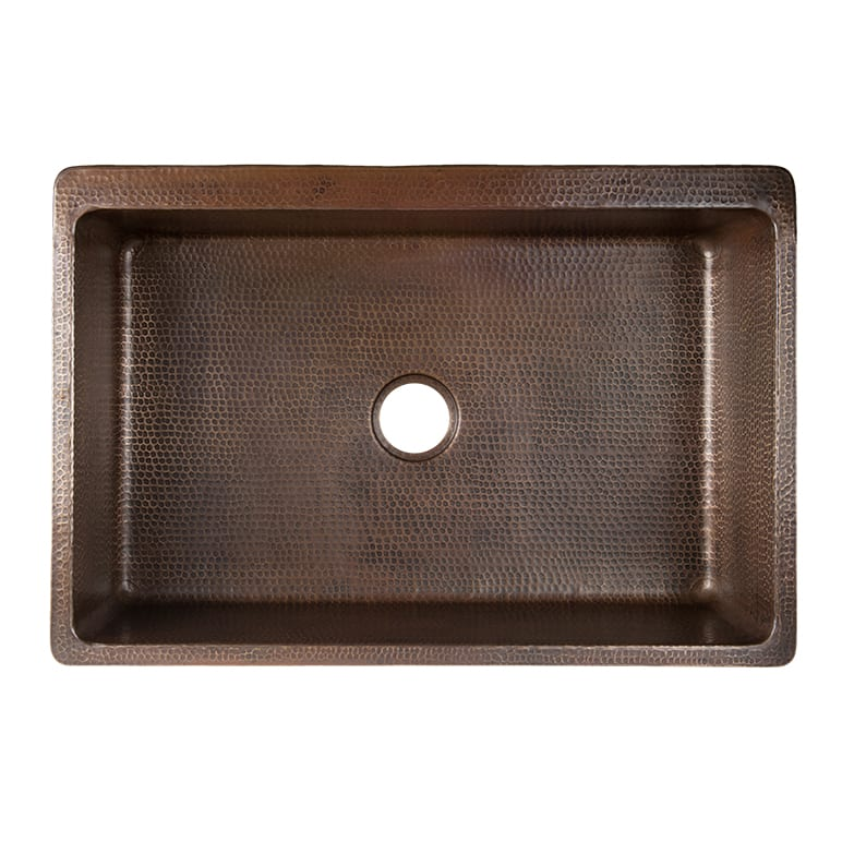 ... 33u2033 Hammered Copper Kitchen Apron Single Basin Sink W/ Scroll Design  And Apron Front ...